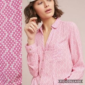 Maeve Rochelle Pink Printed Button Down Shirt